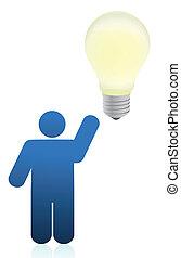 icon person an lightbulb illustration design