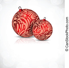 Xmas background with two ball with floral element