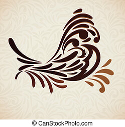 Background with stylized bird. Abstract floral composition