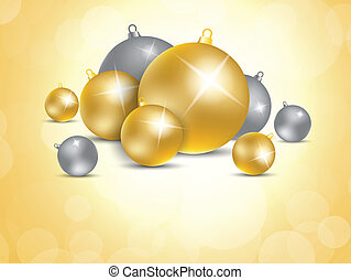 Xmas background with gold and silver balls. Festive...
