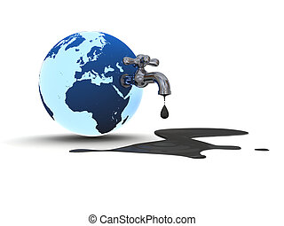 Oil pollution - Illustration of water tap mounted on blue...