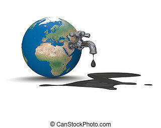 Oil from Earth - Illustration of water tap mounted on...