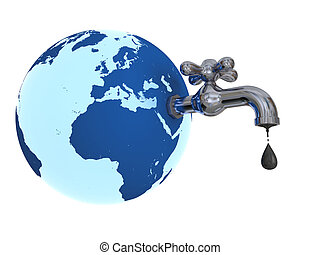 Oil depleting - Illustration of water tap mounted on blue...