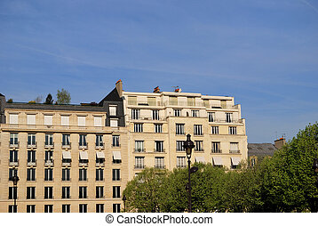 Haussmann style building of Paris - A view of the well-known...