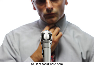 spokesman - microphone  and out of focus Public speaker