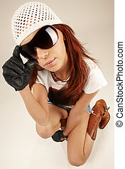 cool girl in big sunglasses - wideangle portrait of cool...