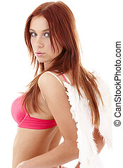 redhead angel girl in pink lingerie