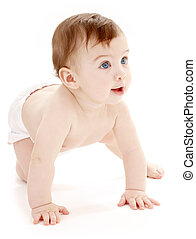 crawling baby boy looking up - bright picture of crawling...