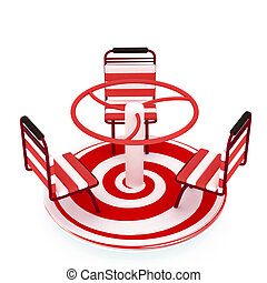 Red Merry-go-round isolated over white with spiral