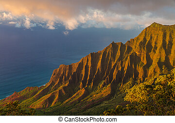 Sunset at Napali Coastline - Napali coast in the evening...