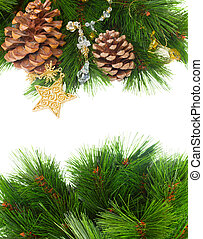 chrismas decorations and pine cones isolated on white with...