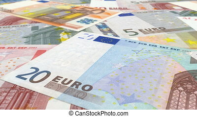 Euro Dolly Shot - Euro Bills Dolly Shot