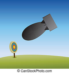 Overkill - Vector illustration of an atom bomb dropped to...