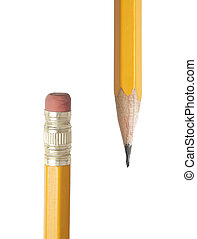 Ends of yellow pencils - Closeup showing the ends of yellow...