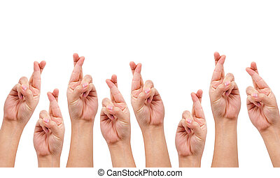 conceptual image, finger crossed hand sign isolated on white...