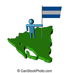 person with flag on Nicaragua map illustration