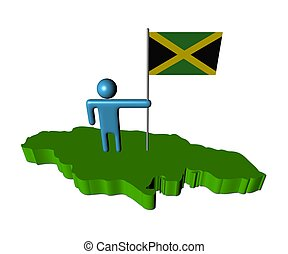 person with flag on Jamaica map illustration