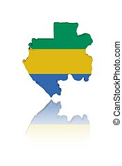 Gabon map flag with reflection illustration