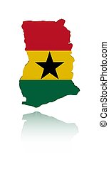 Ghana map flag with reflection illustration