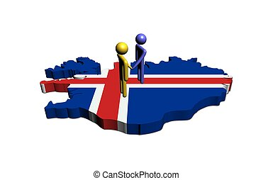 Meeting on Iceland map flag illustration