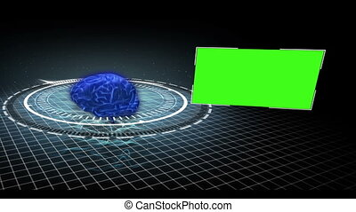 Rotating brain in a circle with app - Rotating blue brain in...
