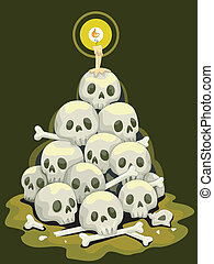 Stack of Skulls - Halloween Illustration Featuring a Stack...