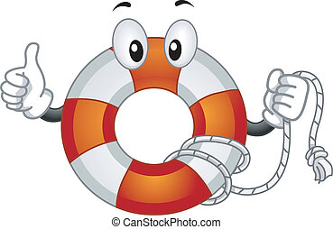 Lifebuoy Mascot - Mascot Illustration Featuring a Lifebuoy...
