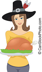 Thanksgiving Girl - Illustration Featuring a Girl Wearing a...