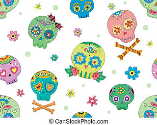 Seamless Sugar Skulls - Seamless Background Halloween...