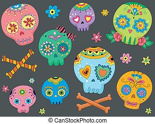 Sugar Skulls - Halloween Illustration Featuring Colorful...