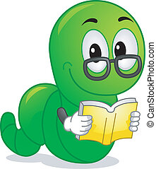 Bookworm Mascot - Mascot Illustration Featuring a Worm...