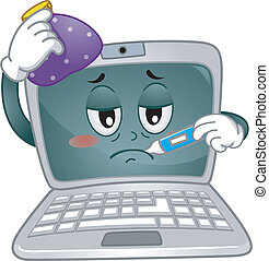 Laptop Mascot - Mascot Illustration Featuring a Sick Laptop