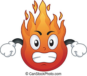 Fire Mascot - Mascot Illustration Featuring an Angry Fire in...