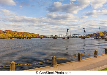 Stillwater Lift Bridge Separating Minnesota and Wisconsin...