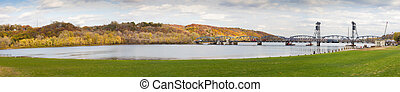 Panorama of Stillwater Lift Bridge over the St. Croix River...