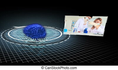 Montage of medical research clips moving around revolving...