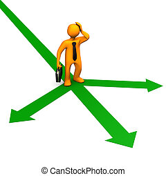 Decision - Orange cartoon character on the green arrows and...
