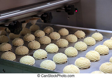 Production of cookies - Production cookie in factory on the...