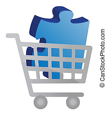 Shopping cart with a puzzle piece design