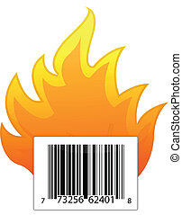 barcode on fire illustration design