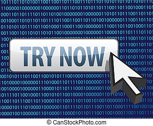 Binary try now button and cursor illustration