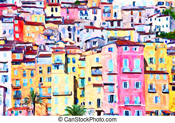 Menton colorful houses, postprocess painting art by the...