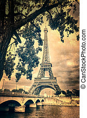 Eiffel tower vintage retro with tree and bridge, Paris,...