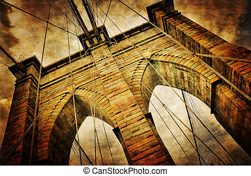 Brooklyn bridge detail vintage retro view, NYC, USA