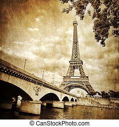 Eiffel tower monochrome vintage view with bridge, Paris,...