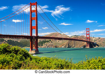 Golden gate bridge vivid day landscape, San Francisco, USA