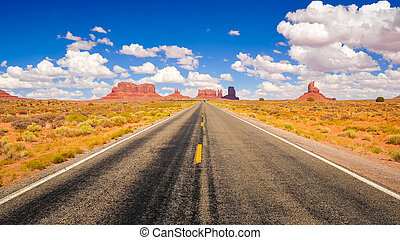 Long road in Monument valley national park, USA