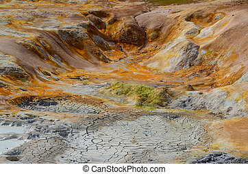 Colorful geothermal area detail, near Myvatn, Iceland -...
