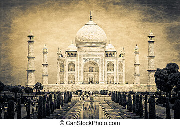 Taj Mahal vintage retro art, Agra, India