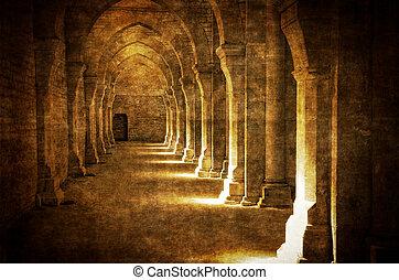 Abbaye de Fontenay archway hall vintage, retro